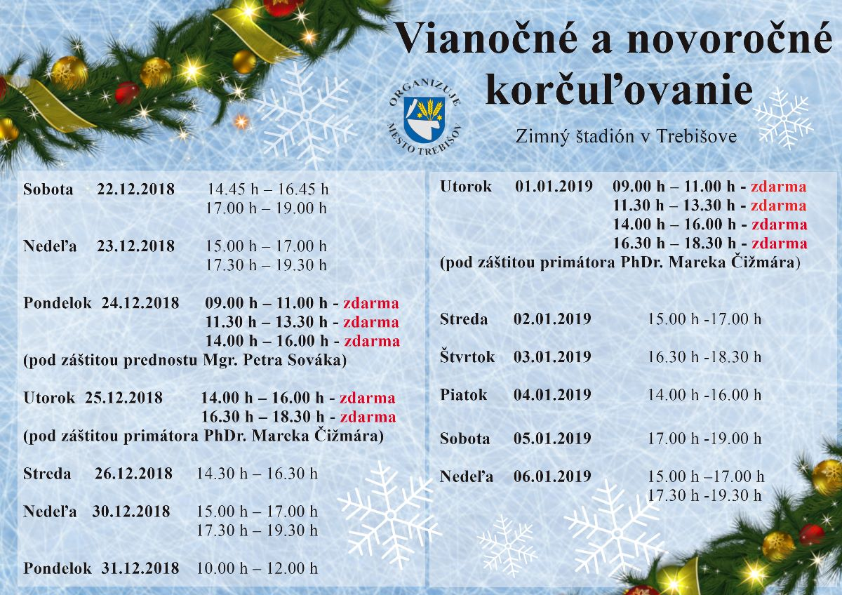 d6263a84f Vianočné a novoročné korčuľovanie pre verejnosť - MESTO TREBIŠOV