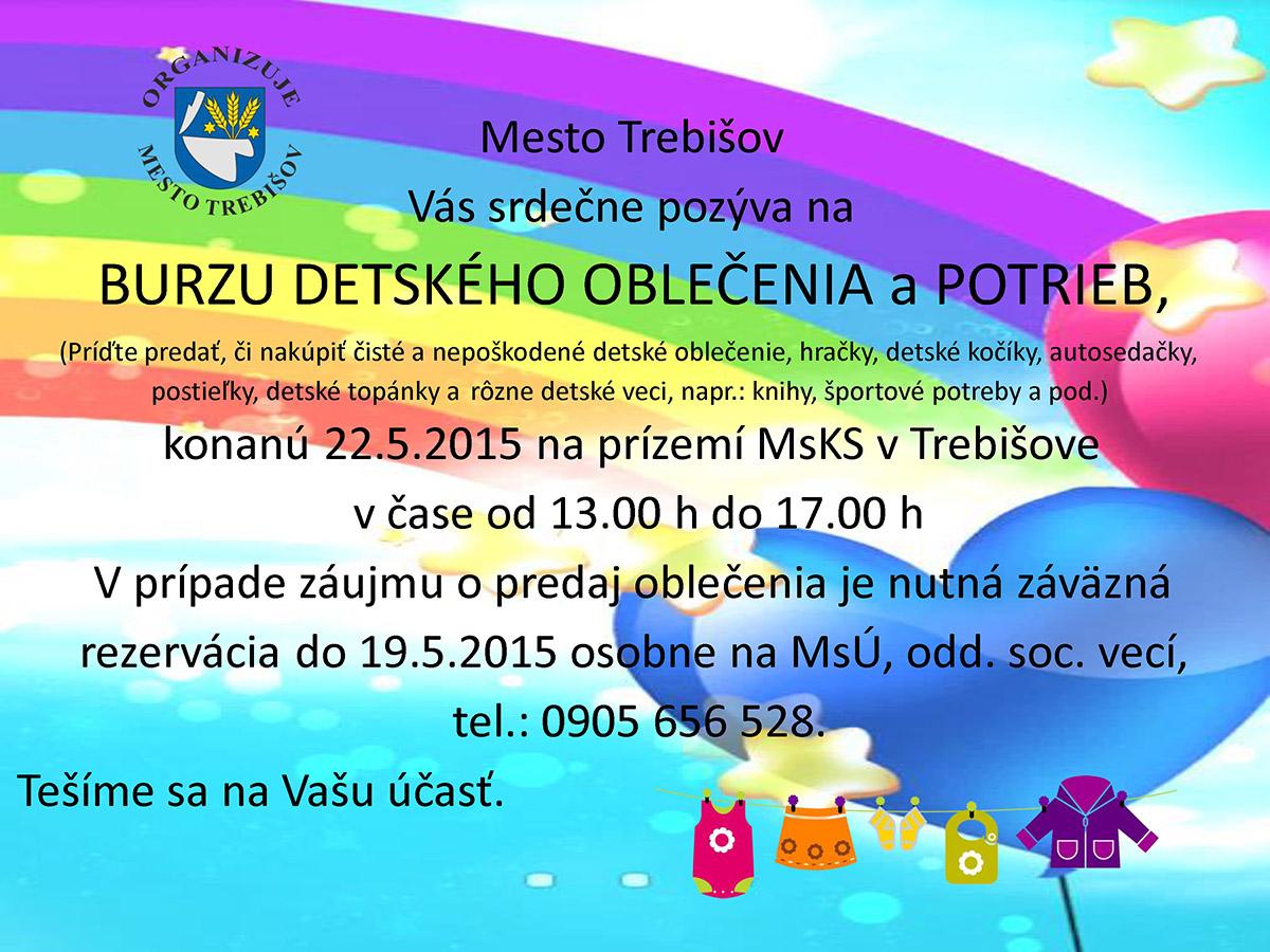 2b7b3df33114 Burza detského oblečenia a detských potrieb - MESTO TREBIŠOV